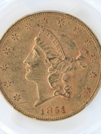1851 Double Eagle PCGS AU55 $20 obv zm