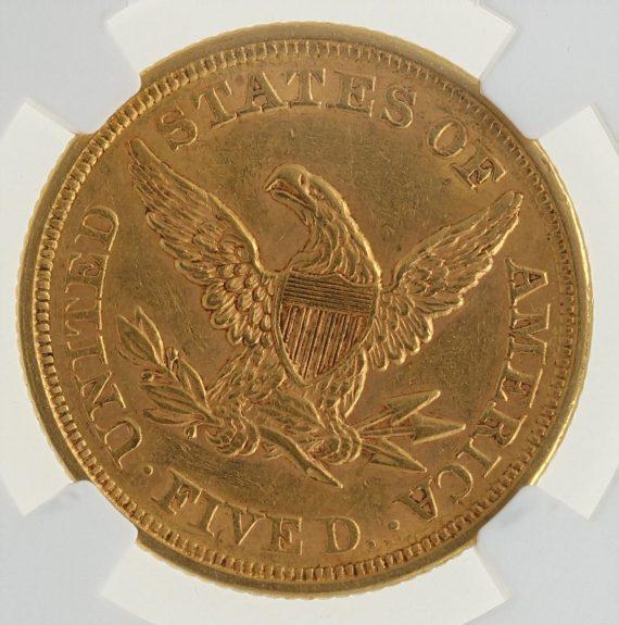 1852 NGC AU58 Half Eagle $5 rev zm