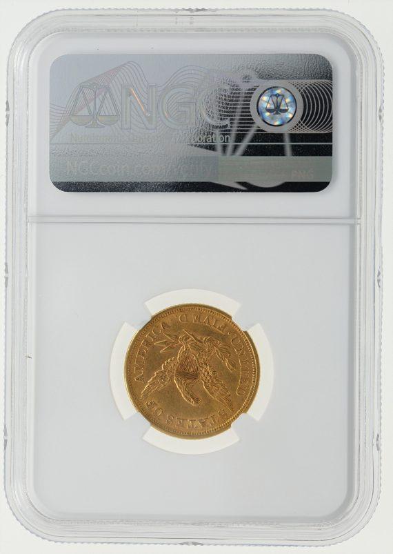 1852 NGC AU58 Half Eagle $5 rev