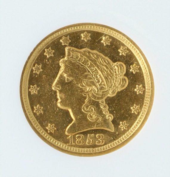 1853-D Quarter Eagle NGC AU53 $2.5 36002 obv-zm