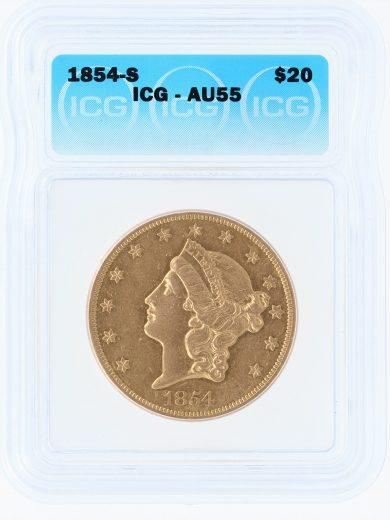 1854-S Double Eagle ICG AU55 $20 obv