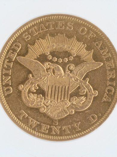 1854-S Double Eagle ICG AU55 $20 rev-zm