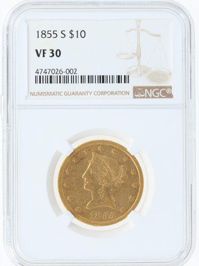 1855-S NGC VF30 $10 obv