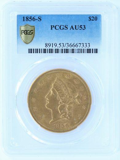 1856-S Double Eagle PCGS AU53 $20 obv