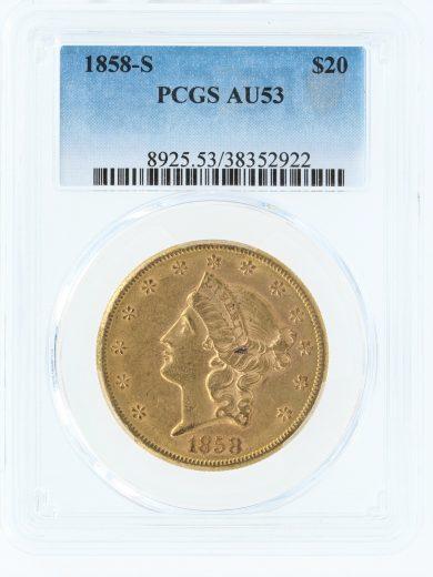 1858-S PCGS AU53 $20 Double Eagle obv