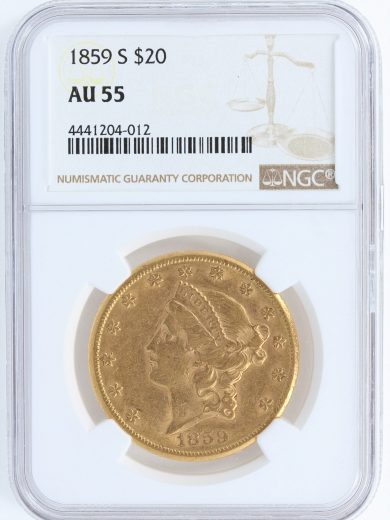 1859-S Double Eagle NGC AU55 $20 04012 obv