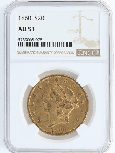 1860 Double Eagle NGC AU53 $20 obv