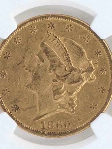 1860 Double Eagle NGC AU53 $20 obv zm