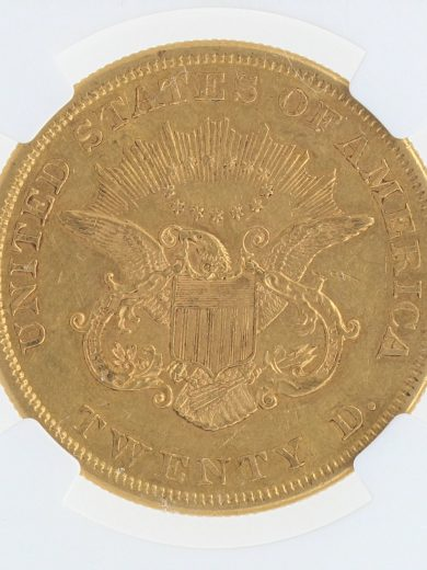 1860 Double Eagle NGC AU55 $20 rev zm