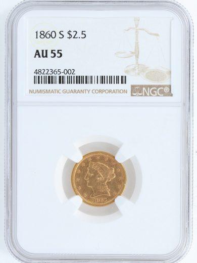 1860-S Quarter Eagle NGC AU55 $2.5 65002 obv