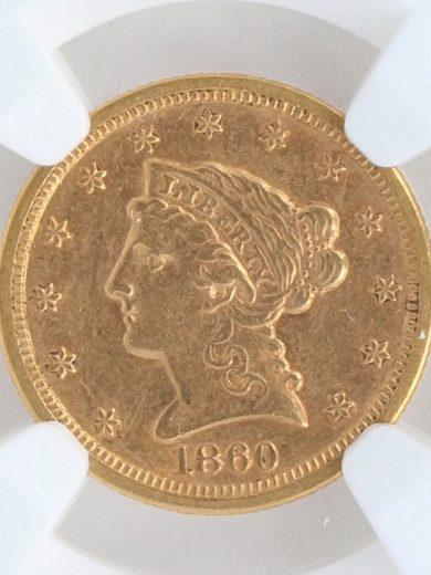 1860-S Quarter Eagle NGC AU55 $2.5 65002 obv-zm