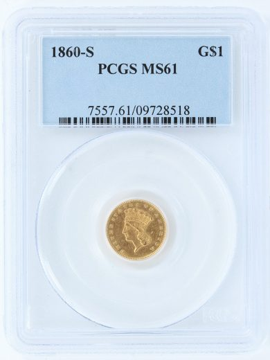 1860-S Gold Dollar PCGS MS61 G$1 obv