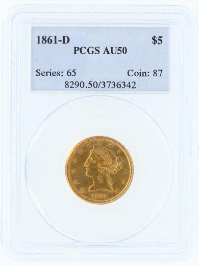 1861-D Half Eagle PCGS AU50 $5 obv