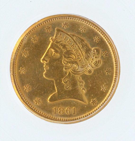 1861-D Half Eagle PCGS AU50 $5 obv-zm