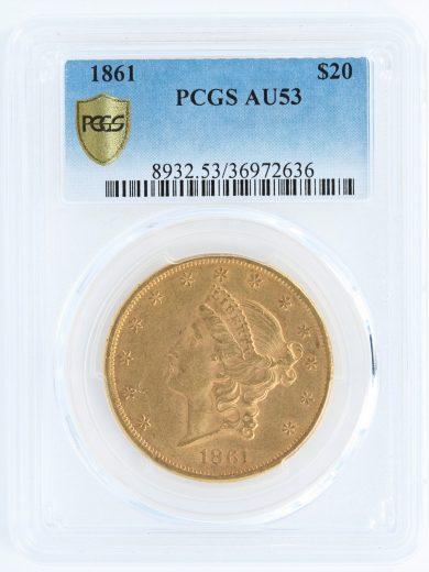 1861 Double Eagle PCGS AU53 $20 obv