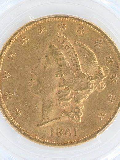 1861 Double Eagle PCGS AU53 $20 obv zm