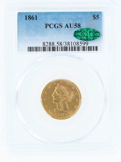 1861 Half Eagle PCGS AU58 $5 obv