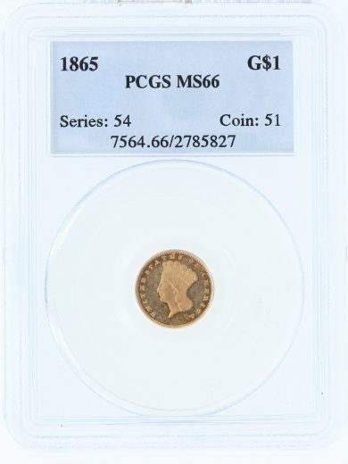 1865 Gold Dollar PCGS MS66 G$1 85827 obv
