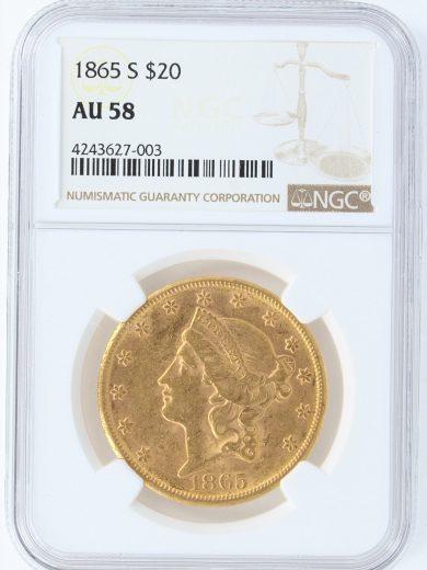 1865-S NGC AU58 $20 27003 obv-27003