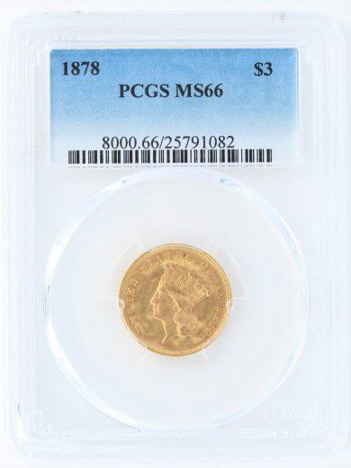 1878 Three Dollar PCGS MS66 $3 91082 obv