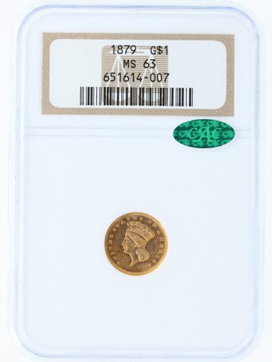 1879 NGC MS63 G$1 14007 CAC obv
