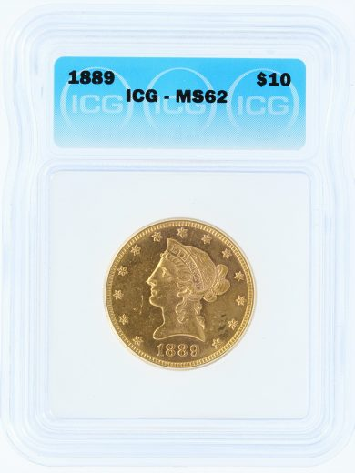 1889 Gold Eagle ICG MS62 G$1 obv