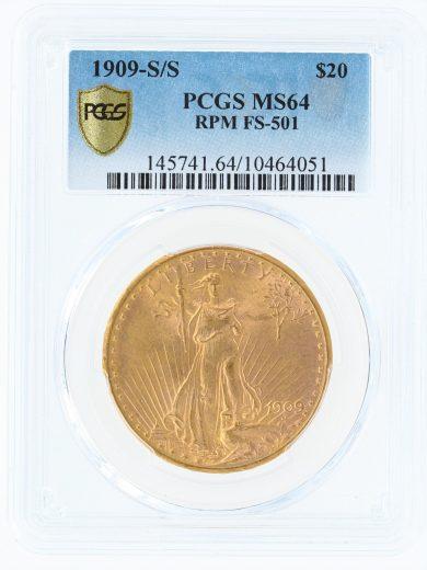 1909-S/S PCGS MS64 $20 Saint Gaudens obv