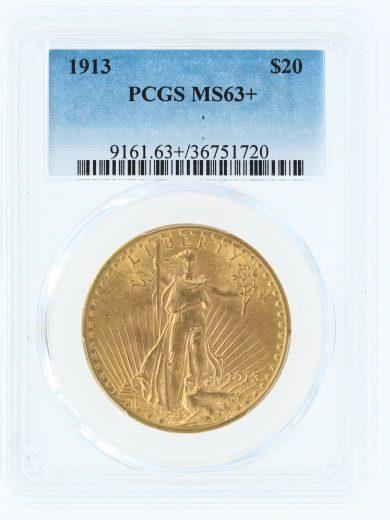 1913 Saint Gaudens PCGS MS63+$20 obv