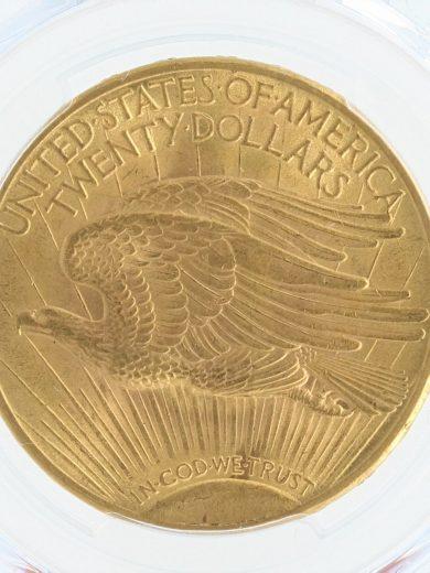 1913 Saint Gaudens PCGS MS63+$20 rev zm