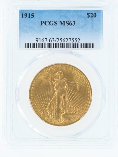 1915 PCGS MS63 $20 Saint Gaudens obv