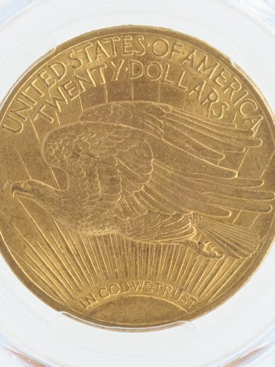 1915 PCGS MS63 $20 Saint Gaudens rev zm