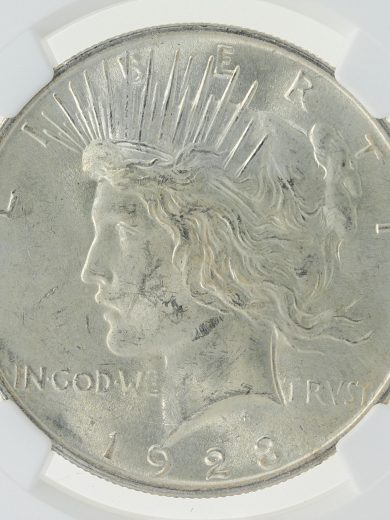 1923 NGC MS62 Mint Error Peace Dollar S$1 obv zm