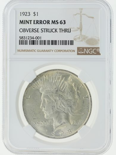 1923 NGC MS63 Mint Error Peace Dollar S$1 obv