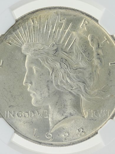 1923 NGC MS63 Mint Error Peace Dollar S$1 obv zm