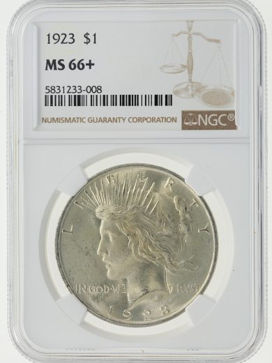 1923 NGC MS66+ Peace Dollar S$1 obv