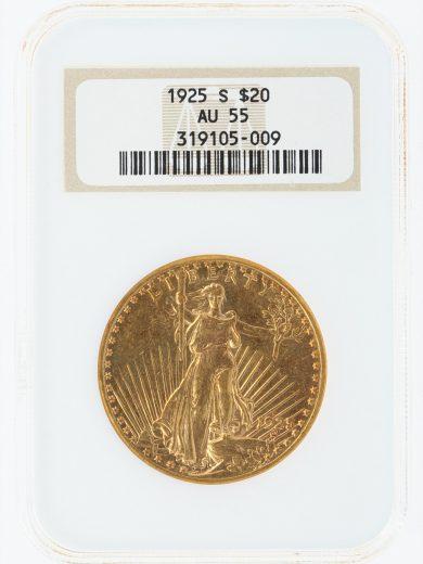 1925-S Saint Gaudens NGC AU55 $20 05009 obv