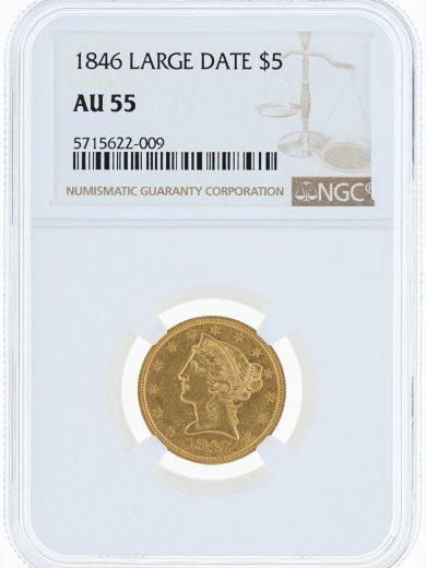 1846 Large Date Half Eagle NGC AU55 $5 22009 obv