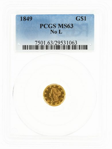 1849 No L Gold Dollar PCGS MS63 G$1 obv