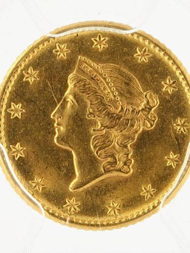 1849 No L Gold Dollar PCGS MS63 G$1 obv zm