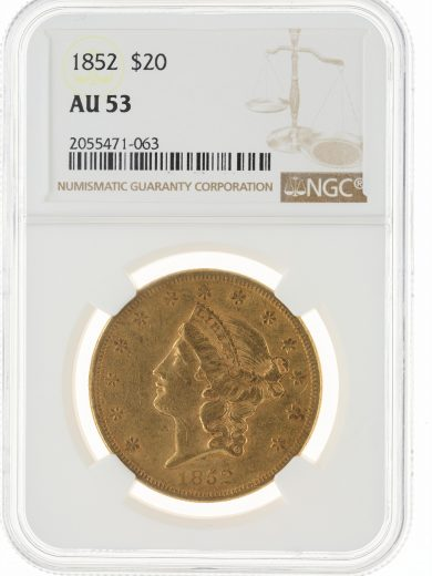 1852 Double Eagle NGC AU53 $20 71063 obv
