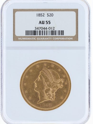 1852 Double Eagle NGC AU55 $20 44012 obv
