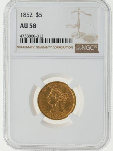 1852 Half Eagle NGC AU58 $5 08012 obv