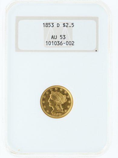 1853-D Quarter Eagle NGC AU53 $2.5 obv