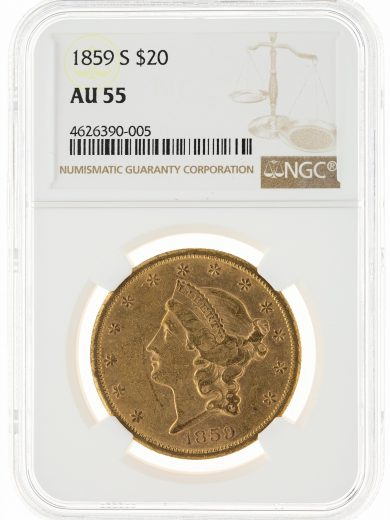 1859-S Liberty Head Double Eagle NGC AU55 $20 90005 obv