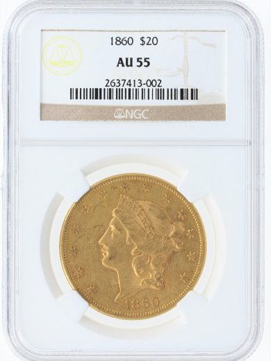 1860 Double Eagle NGC AU55 $20 13002 obv