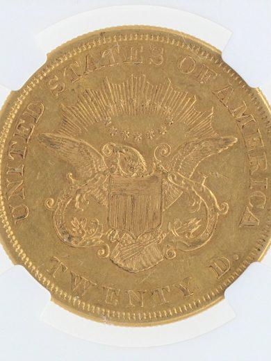 1860 Double Eagle NGC AU55 $20 13002 rev-zm