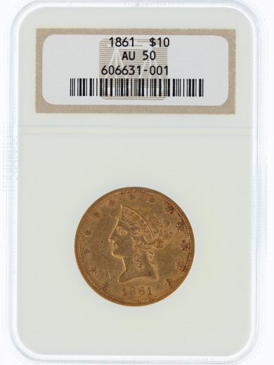 1861 Gold Eagle NGC AU50 $10 31001 obv