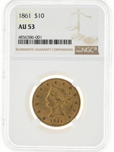 1861 Gold Eagle NGC AU53 $10 86001 obv