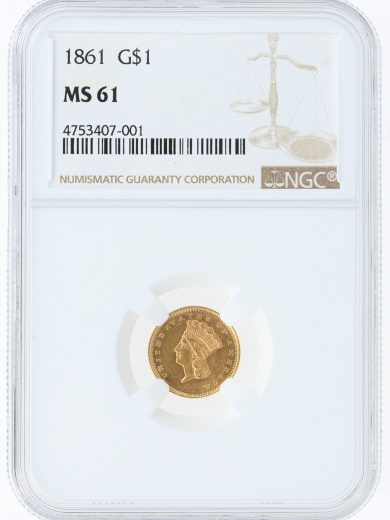 1861 Gold Dollar NGC MS61 G$1 obv
