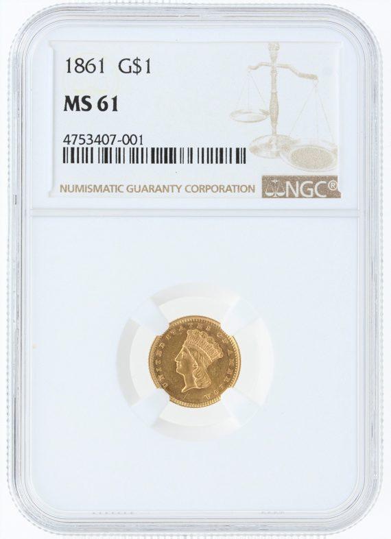 1861 Gold Dollar NGC MS61 G$1 obv